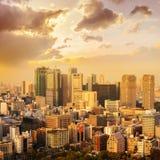 paesaggio urbano dell'orizzonte di /sunrise di tramonto della città di Tokyo in vista la vista aerea w fotografia stock libera da diritti