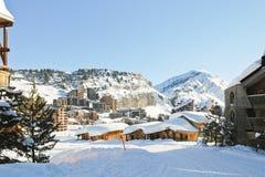 Paesaggio urbano della città di Avoriaz in alpe, Francia Immagini Stock