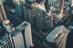 Paesaggio urbano della città di Bangkok e delle costruzioni dei grattacieli della Tailandia , Paesaggio di panorama dell'affare e fotografia stock libera da diritti