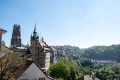 Paesaggio urbano della città di Friburgo Fotografia Stock Libera da Diritti