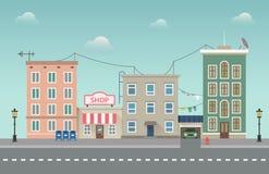 Paesaggio urbano della città di giorno Illustrazione di vettore della cittadina nello stile piano Immagini Stock Libere da Diritti
