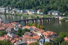 Paesaggio urbano della città di Heidelberg in Germania Immagine Stock Libera da Diritti