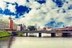 Paesaggio urbano della città di Malmo, Svezia fotografie stock