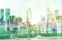 Paesaggio urbano della città di Singapore, isolato su fondo bianco Fotografia Stock