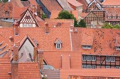 Paesaggio urbano della città medioevale Quedlinburg Fotografia Stock
