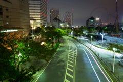 Paesaggio urbano della città di Yokohama alla notte Fotografia Stock