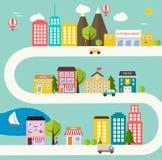 Paesaggio urbano della cittadina Illustrazione di Stock