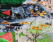 Paesaggio urbano della pittura a olio Fotografia Stock
