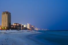 Paesaggio urbano della spiaggia di Panama City alla notte Immagine Stock Libera da Diritti