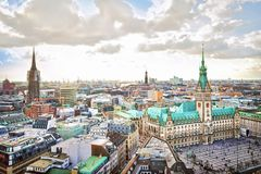 Paesaggio urbano di Amburgo Fotografia Stock Libera da Diritti