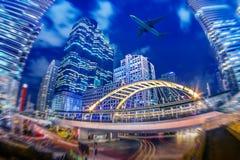 Paesaggio urbano di Bangkok, distretto aziendale con alta costruzione e airp Immagine Stock Libera da Diritti