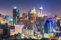 Paesaggio urbano di Bangkok, distretto aziendale con alta costruzione, Thailan Fotografia Stock Libera da Diritti