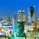 Paesaggio urbano di Bangkok, distretto aziendale con alta costruzione, Thailan Fotografie Stock Libere da Diritti