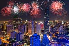 Paesaggio urbano di Bangkok nel distretto aziendale ed in alta costruzione a vicino Fotografie Stock Libere da Diritti