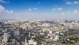 Paesaggio urbano di Bangkok Vista della città dalla costruzione più alta dentro Immagine Stock Libera da Diritti