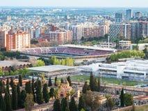 Paesaggio urbano di Barcellona con lo stadio di nou del campo Fotografia Stock