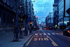 Paesaggio urbano di Belgrado di sera Fotografia Stock Libera da Diritti