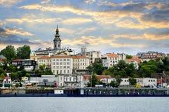 Paesaggio urbano di Belgrado sul Danubio Fotografia Stock Libera da Diritti