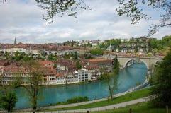 Paesaggio urbano di Berna con il fiume Aare Fotografia Stock Libera da Diritti