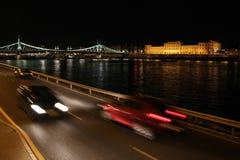 Paesaggio urbano di Budapest alla notte Fotografia Stock Libera da Diritti