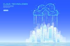Paesaggio urbano di calcolo della città 3D della nuvola astuta della luce Affare futuristico online stoccaggio dello scambio dei  illustrazione di stock