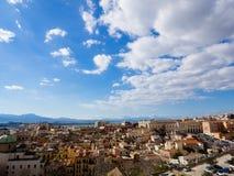 Paesaggio urbano di castello di Cagliari in Sardegna Fotografia Stock