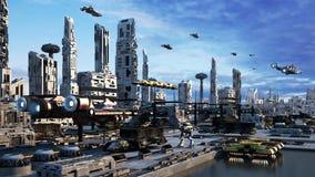 paesaggio urbano di concetto di fantasia di Scifi della rappresentazione 3d la città della diga Fotografia Stock