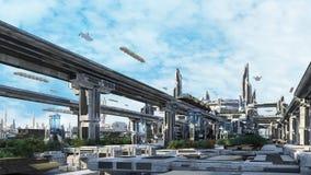 paesaggio urbano di concetto di fantasia di Scifi 3d Fotografia Stock Libera da Diritti