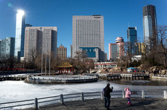Paesaggio urbano di Dalian nell'inverno Fotografia Stock