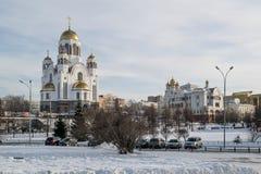 Paesaggio urbano di Ekaterinburg al salvatore sulla cattedrale del sangue nell'inverno Fotografie Stock
