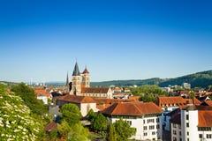 Paesaggio urbano di Esslingen con la chiesa di Dionysius del san Fotografia Stock Libera da Diritti