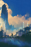 Paesaggio urbano di fantascienza con i bassifondi ed il grattacielo futuristico illustrazione vettoriale
