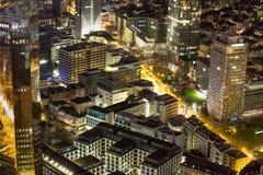 Paesaggio urbano di Francoforte sul Meno Germania alla notte Immagini Stock Libere da Diritti