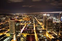 Paesaggio urbano di Francoforte sul Meno Germania alla notte Fotografie Stock