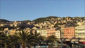 Paesaggio urbano di Genova stock footage