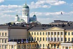 Paesaggio urbano di Helsinki e cattedrale di Helsinki, immagine stock libera da diritti