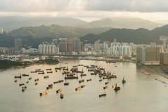 Paesaggio urbano di Hong Kong della barca Immagini Stock