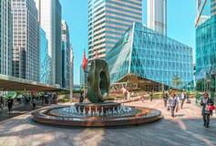 Paesaggio urbano di Hong Kong La vista del quadrato di scambio su Hong Kong Island ha circondato con i grattacieli Fotografia Stock Libera da Diritti