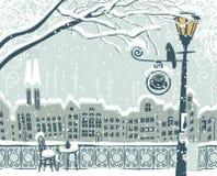 Paesaggio urbano di inverno Immagini Stock