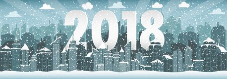 Paesaggio urbano di inverno Città con neve Natale 2018 Fotografie Stock