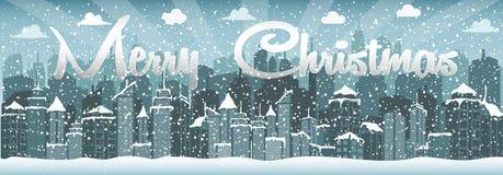 Paesaggio urbano di inverno Città con neve Natale 2018 Immagini Stock Libere da Diritti