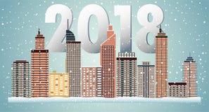 Paesaggio urbano di inverno Città con neve Natale 2018 Fotografia Stock Libera da Diritti