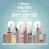 Paesaggio urbano di inverno Città con neve Natale 2018 Fotografia Stock