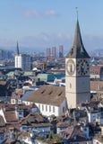 Paesaggio urbano di inverno di Zurigo Fotografia Stock