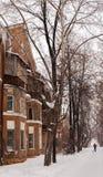 Paesaggio urbano di inverno Vecchia casa, alberi nudi ed uomo con il cane in Immagine Stock
