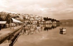 Paesaggio urbano di Kastoria, Grecia Fotografie Stock Libere da Diritti