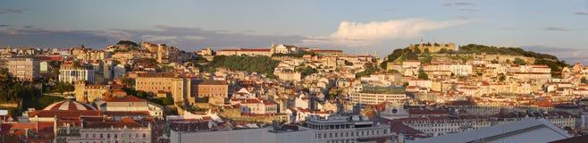 Paesaggio urbano di Lisbona al tramonto, Portogallo Fotografie Stock