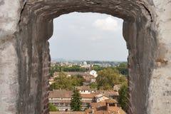 Paesaggio urbano di Lucca dalla torre di Guinigi, Toscana, Italia Fotografie Stock