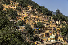 Paesaggio urbano di Masuleh, vecchio villaggio nell'Iran fotografie stock libere da diritti