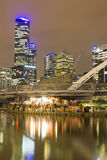 Paesaggio urbano di Melbourne alla notte Immagini Stock